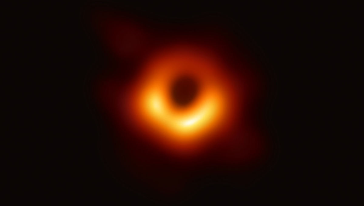 The very first image of the event horizon of a supermassive black hole. This shows the silhouette of a black hole with a mass 6.5 billion times that of the Sun, located at the core of the galaxy M87 55 million light years away from Earth. Credit: NSF