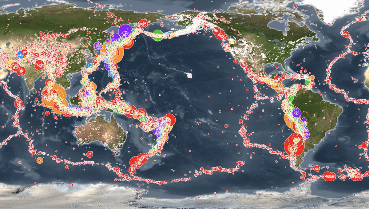 All the recorded earthquakes from Jan. 1, 2001 - Dec. 31, 2015 are shown on this global map. Credit: Pacific Tsunami Warning Center
