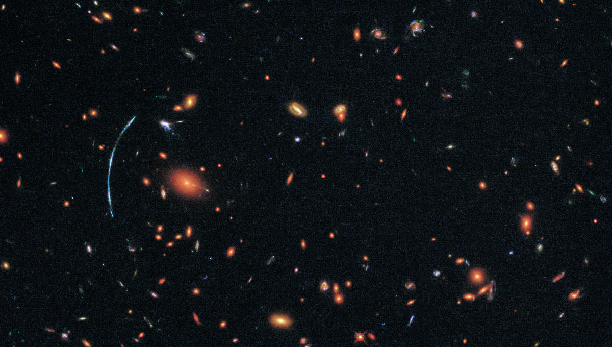 """The """"true"""" shape of the lensed galaxy (right, inset), reconstructed by mapping out the structure of the galaxy cluster and determining how it distorted the light of SGAS 1110 on its way to Earth. Credit: NASA, ESA, and T. Johnson (University of Michigan)"""