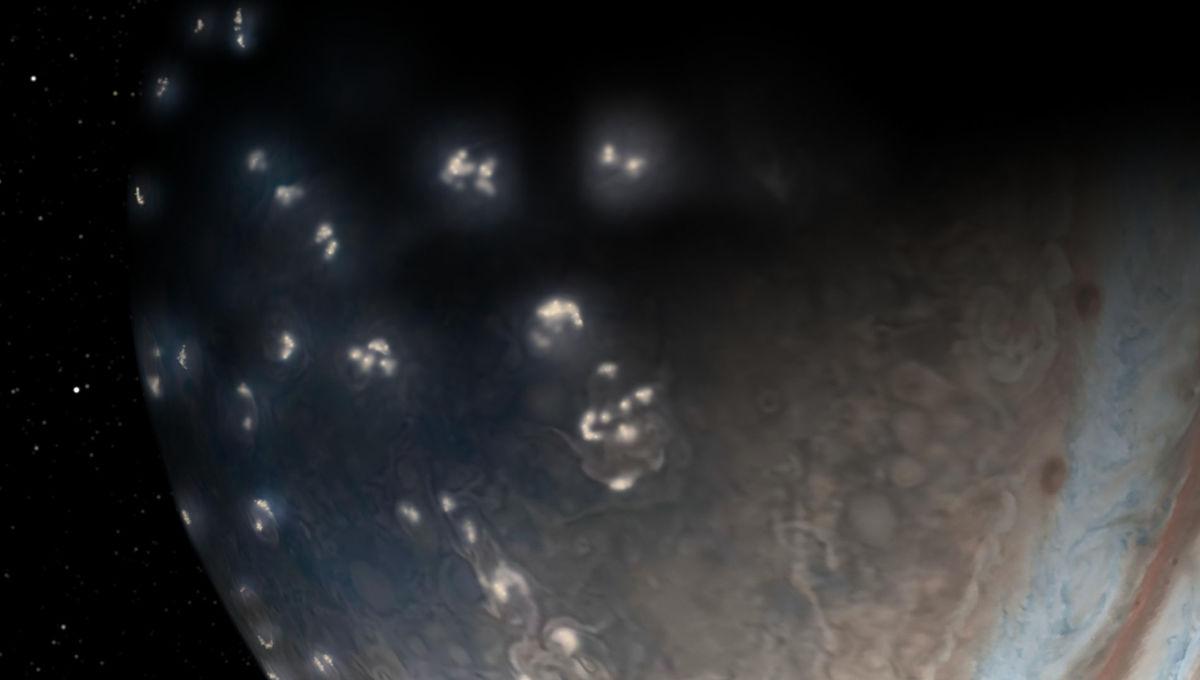 Artwork depicting vast numbers of lightning bolts near Jupiter's pole. Credit: NASA/JPL-Caltech/SwRI/JunoCam