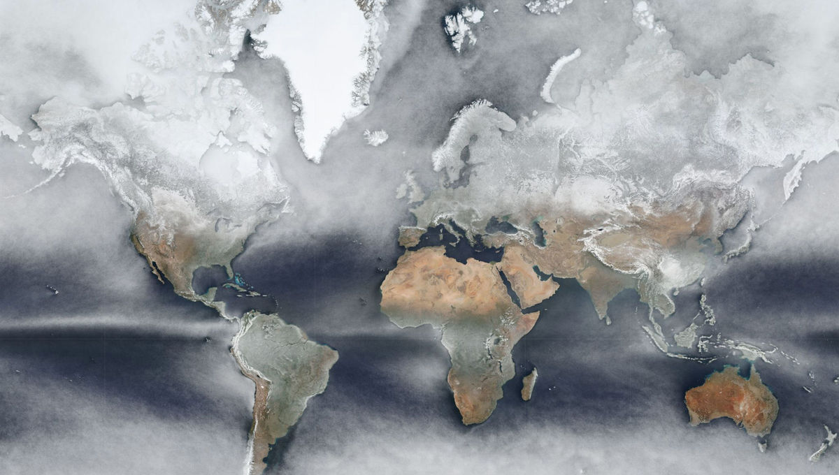 A map of the world created by taking the median data from a year's worth of observations from Suomi-NPP, an Earth-observing satellite. Credit: NASA/SuomiNPP/Johannes Kroeger