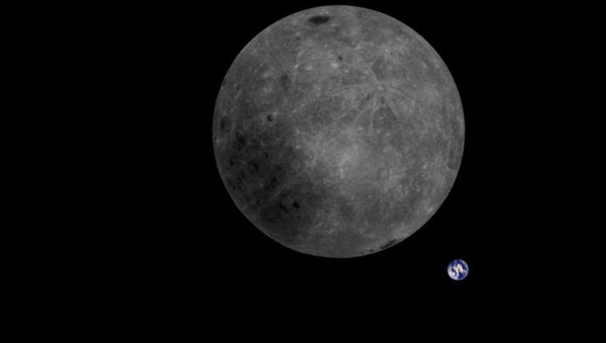 The far side of the Moon and the Earth seen together from the Chinese lunar satellite Longjiang-2. Credit: CNSA / Dwingeloo