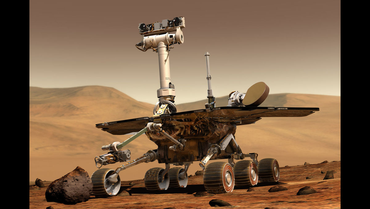 Artwork depicting the rover Opportunity on Mars, its home for the past 15 years and now forevermore. Credit: NASA / JPL / Maas