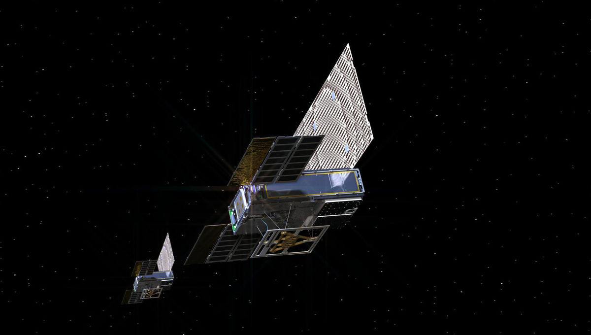 Artwork depicting the pair of Mars Cube One satellites on their way to Mars. Credit: NASA