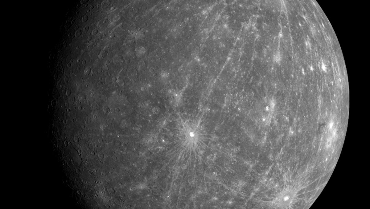 A mosaic of Mercury taken by the MESSENGER spacecraft in 2008, showing impact craters with tremendously long ray systems. Credit: NASA/Johns Hopkins University Applied Physics Laboratory/Carnegie Institution of Washington