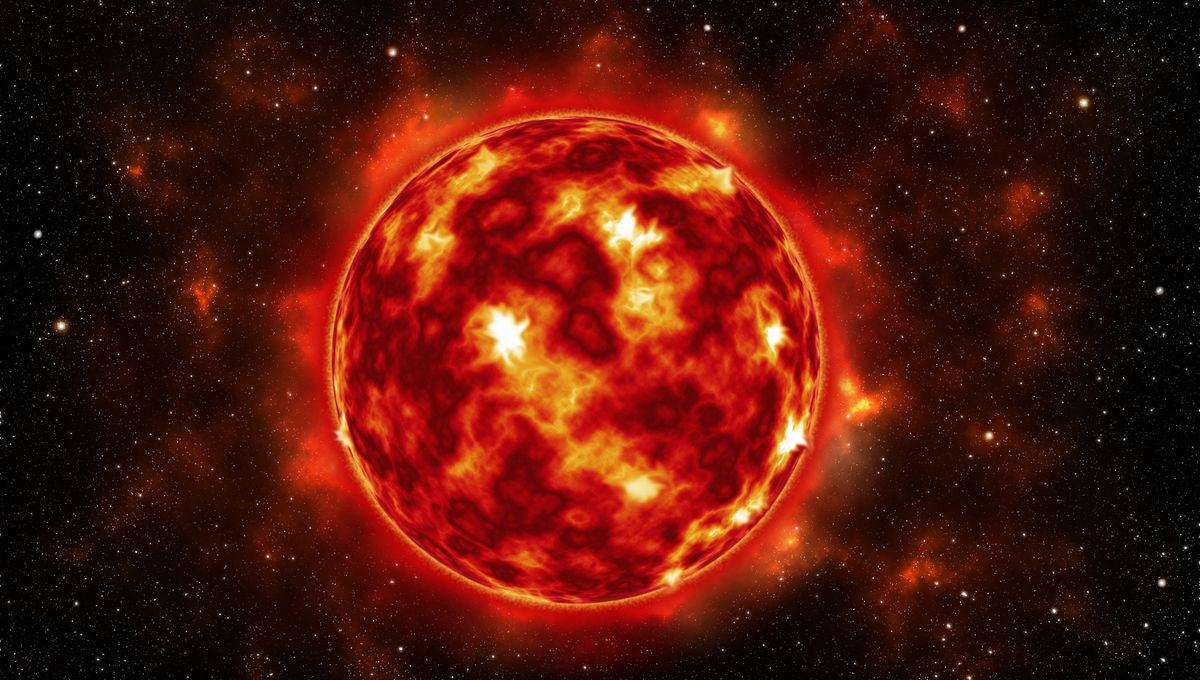 Artwork depicting a low-mass red dwarf star.