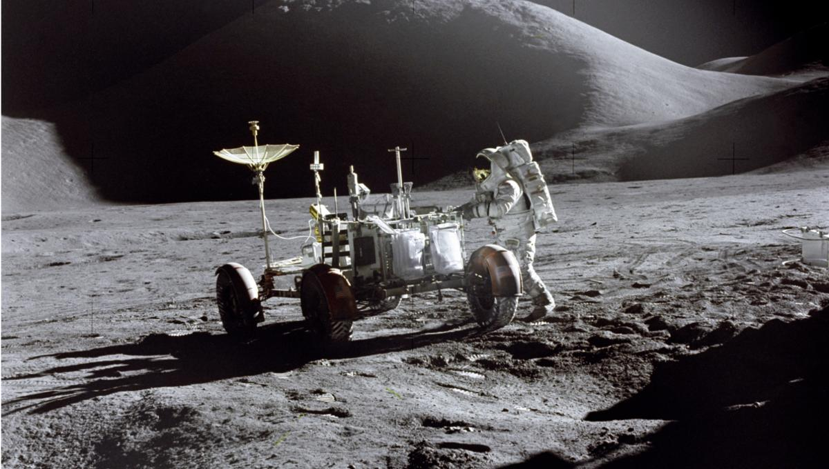 NASA image of astronaut on moon