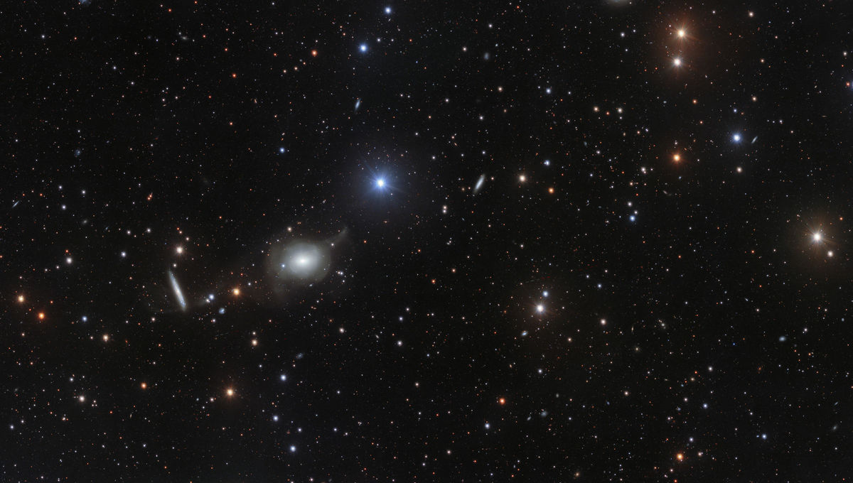 A wide field view of the galaxy NGC 5018 and neighbors. Credit: ESO/Spavone et al.