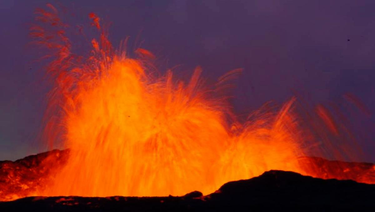 one of Iceland's fire fountain volcanoes