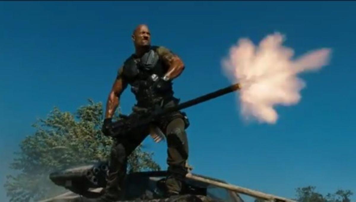 It's the Rock vs  flying ninjas in 1st G I  Joe: Retaliation trailer