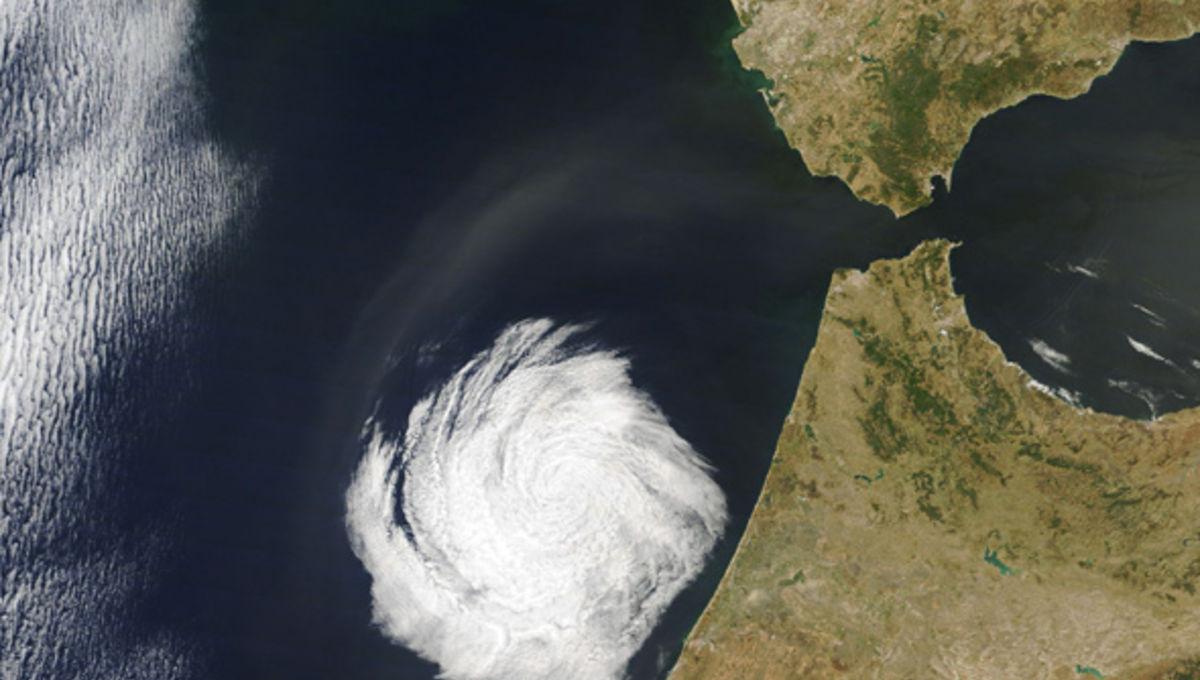 cloud swirl over Morocco