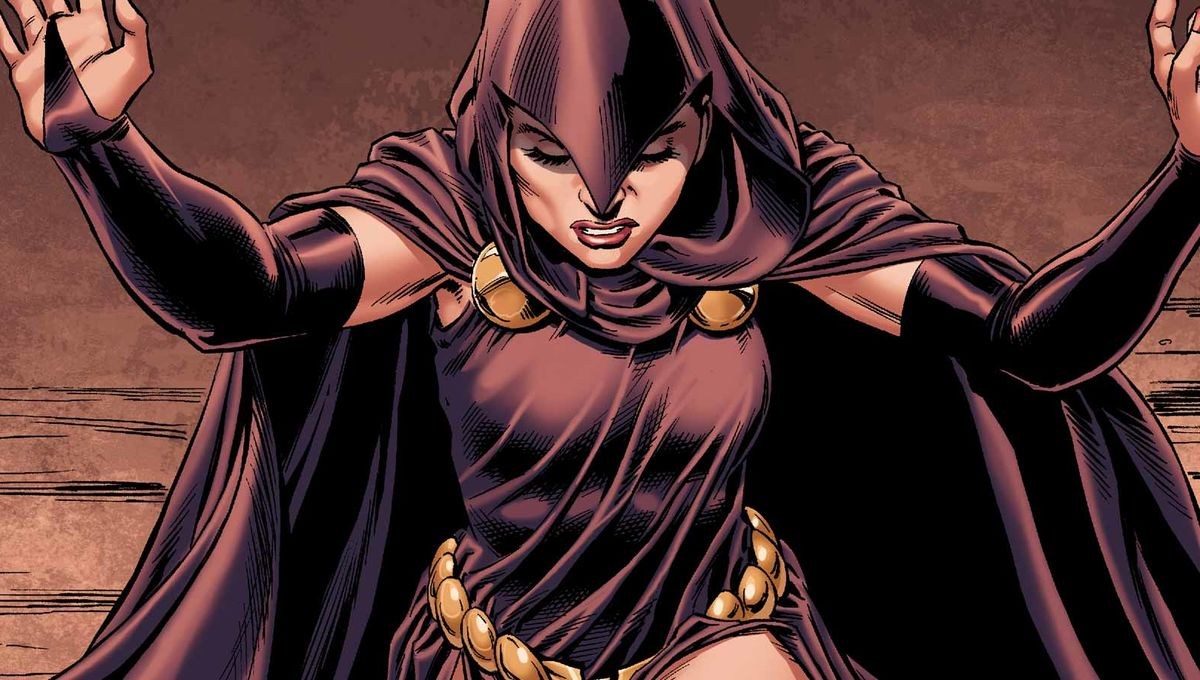Raven in costume, looking down. JLD Guest Star suggestion.