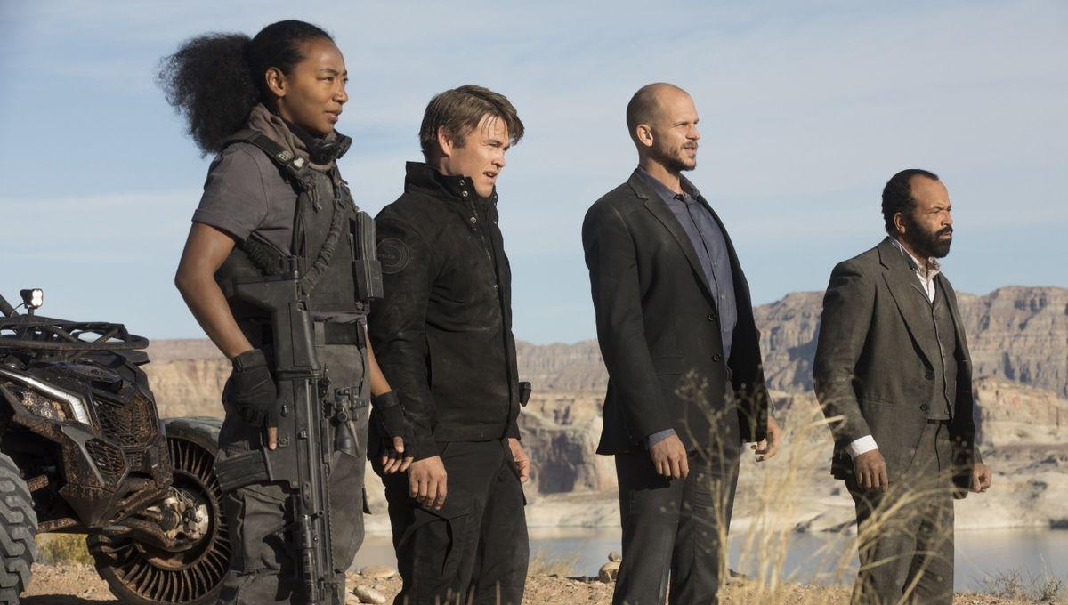 From left: Betty Gabriel, Luke Hemsworth, Gustaf Skarsgard andJeffrey Wright in Westworld Season 2