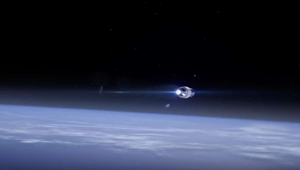 Blue Origin image of spacecraft above Earth