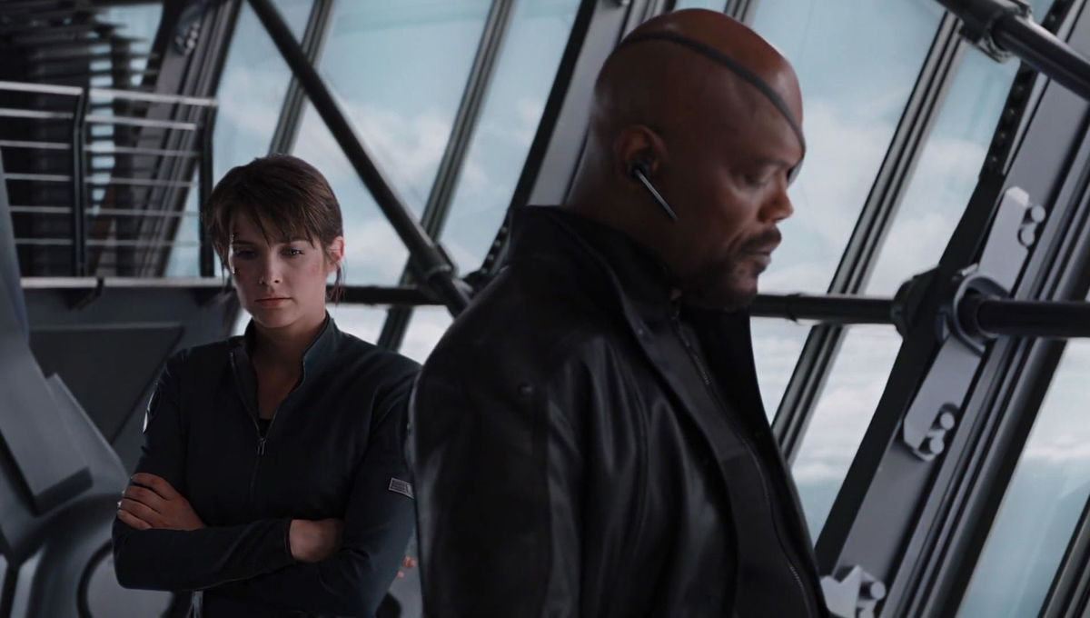 Maria Hill and Nick Fury