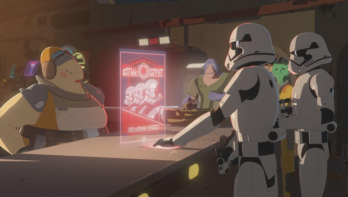 Aunt Z standing behind her bar on the Colossus is confronted by two troopers, holding a recruitment hologram.