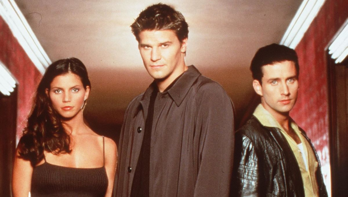 Charisma Carpenter, David Boreanaz, and Glenn Quinn in Angel.