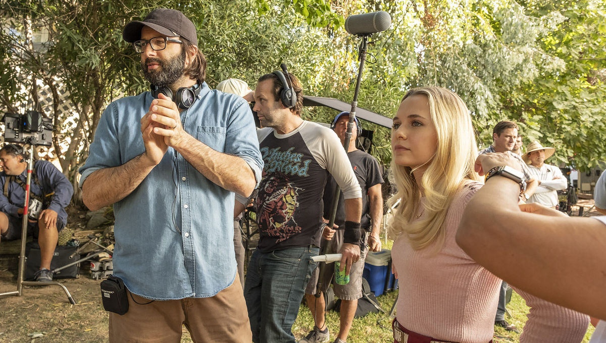 Gary Dauberman and Madison Iseman on the set of Annabelle Comes Home