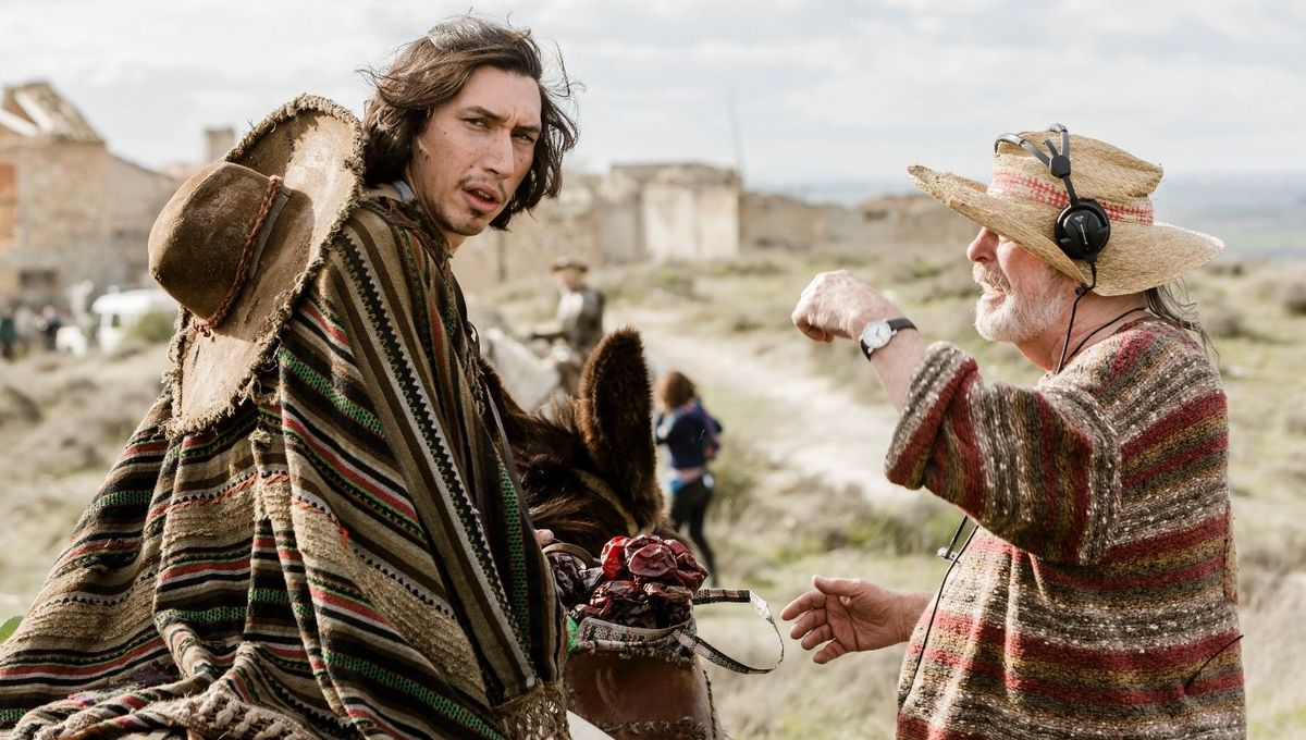 Terry Gilliam and Adam Driver on the set of The Man Who Killed Don Quixote