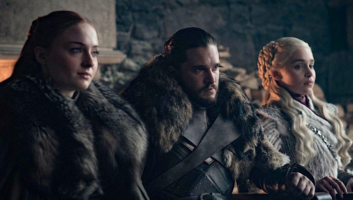 Sansa Stark, Jon Snow, and Danaerys Targaryen in HBO's Game of Thrones