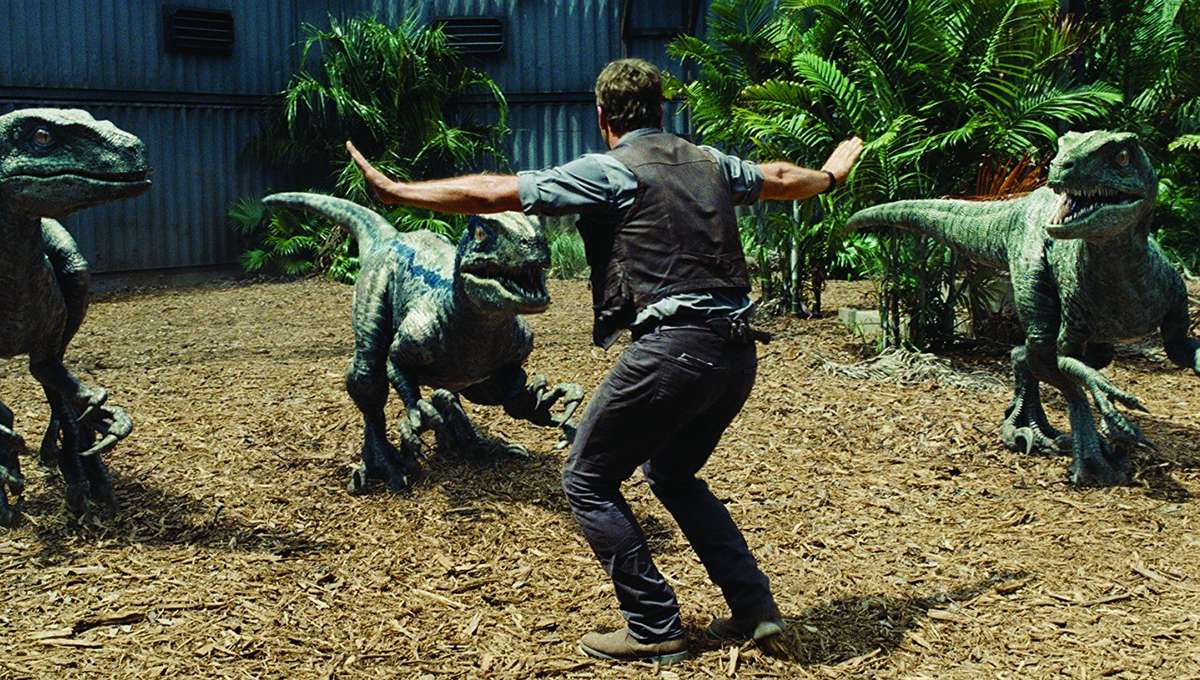 Chris Pratt and his raptors in Jurassic World