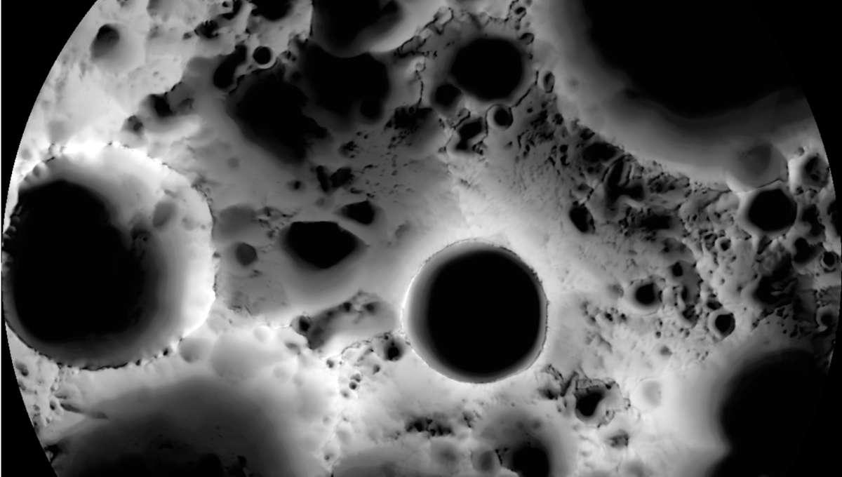 NASA image of the moon's south pole