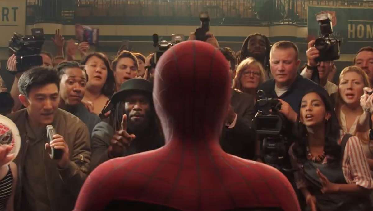 Spider Man faces fans in Spider-Man: Far From Home