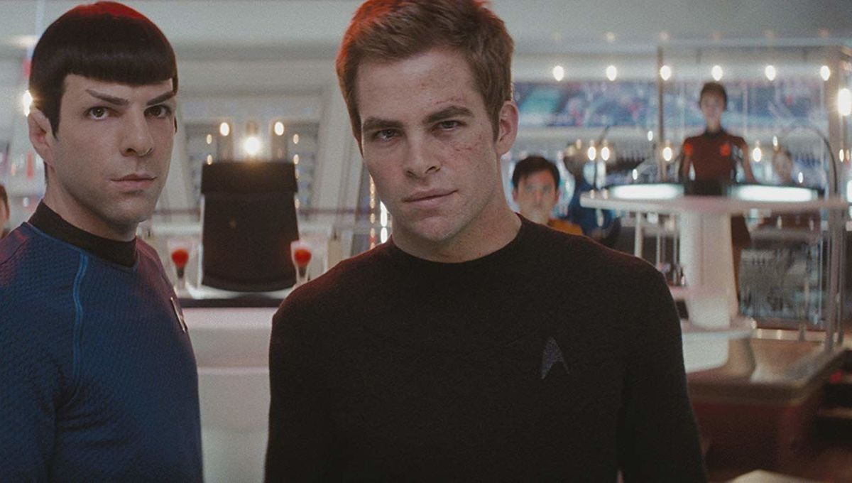 Chris Pine and Zachary Quinto as Kirk and Spock in Star Trek (2009)