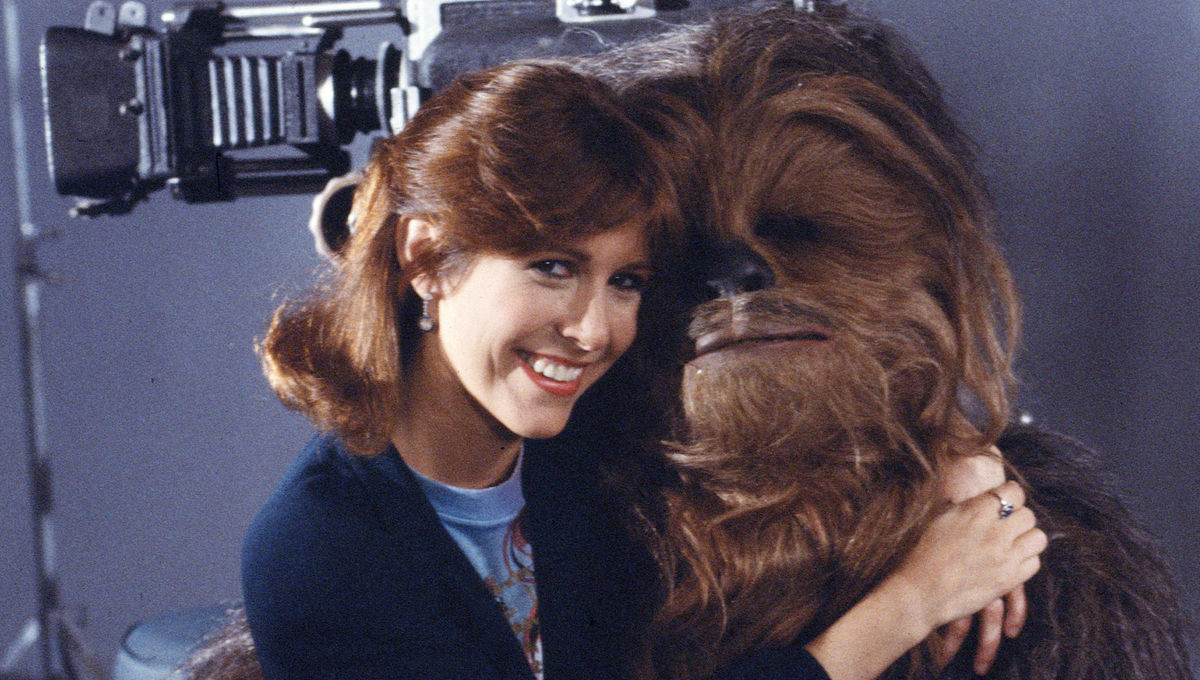 Chewbacca and Carrie Fisher