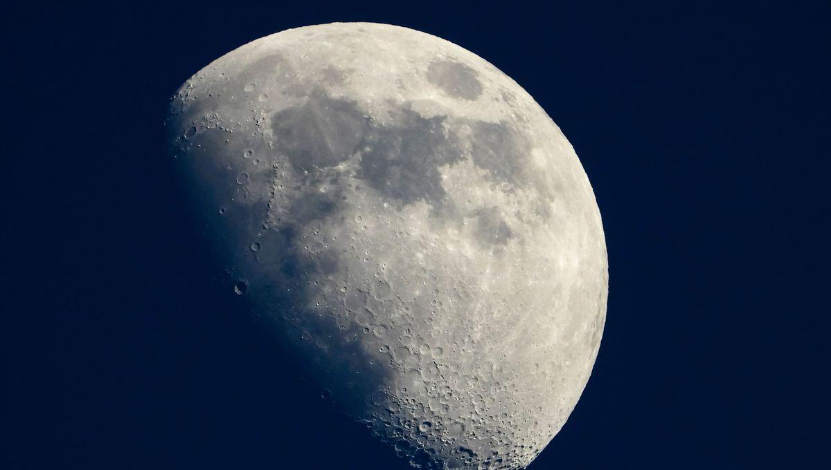 The moon at half full