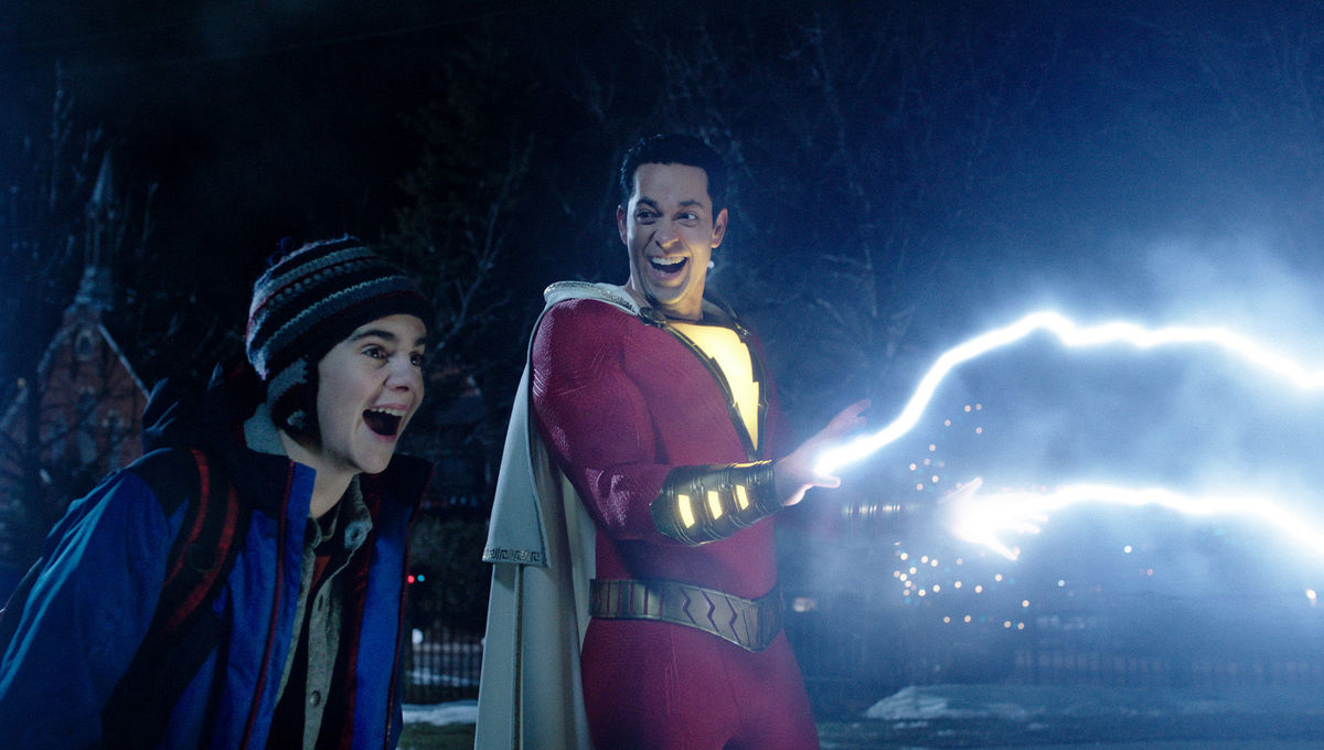 Showing off superhero lightning powers in Shazam