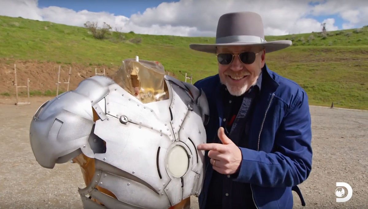 Adam Savage demonstrates Iron Man suit for Savage Builds on Discovery