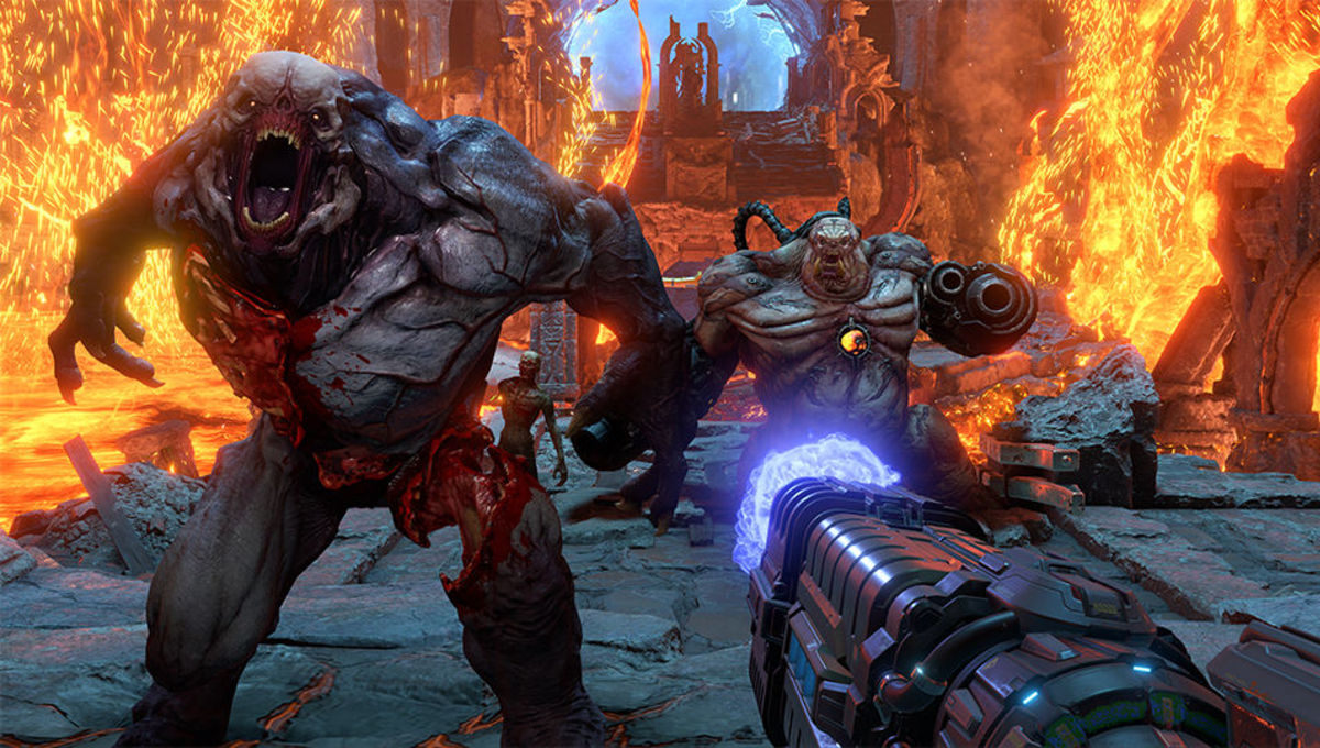 Fighting demons in the Doom Eternal video game