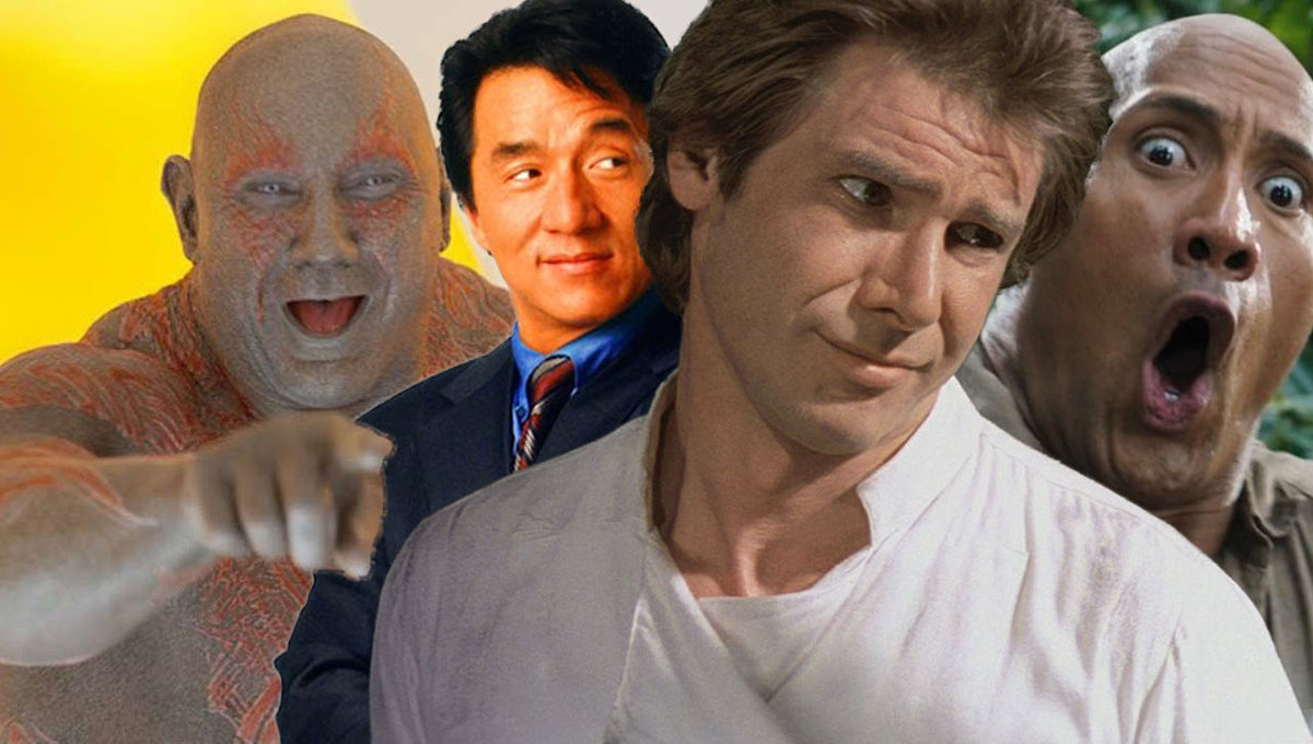 Dave Bautista Jackie Chan Harrison Ford Dwayne The Rock Johnson