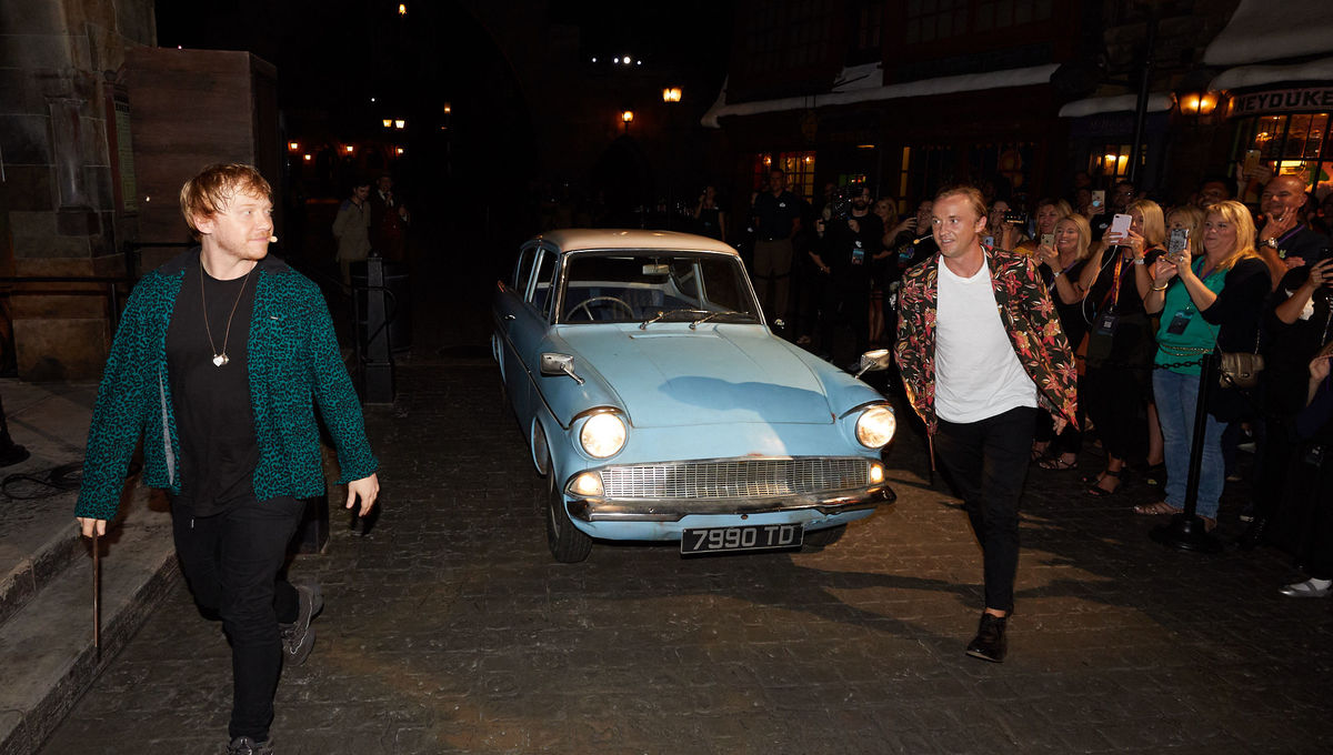 Tom Felton and Rupert Grint at Universal Studios for the opening of Hagrid's Magical Creatures Motorbike Adventure