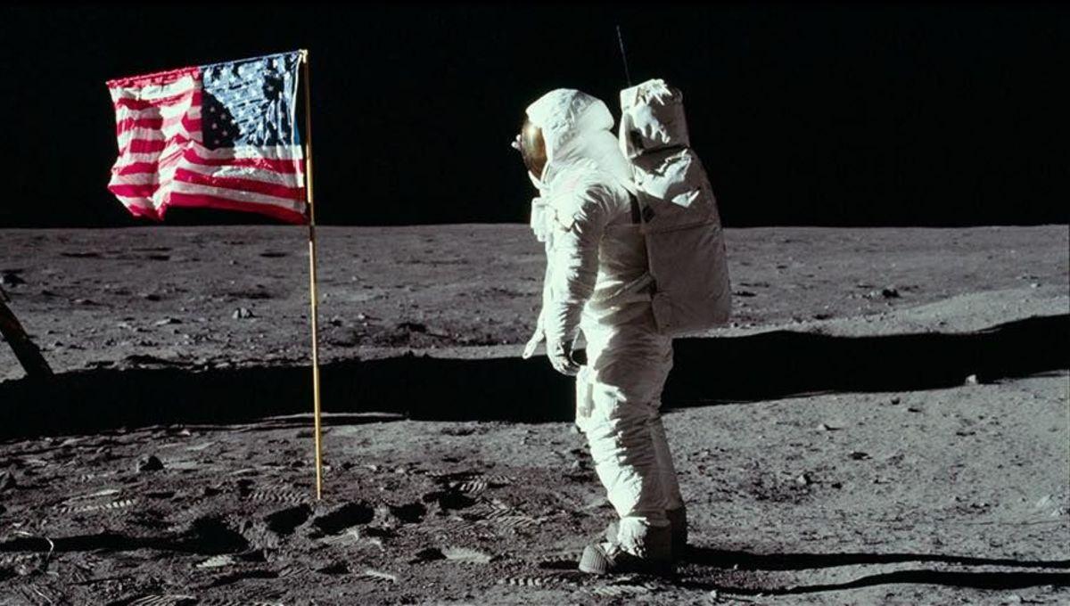Apollo 11 with flag