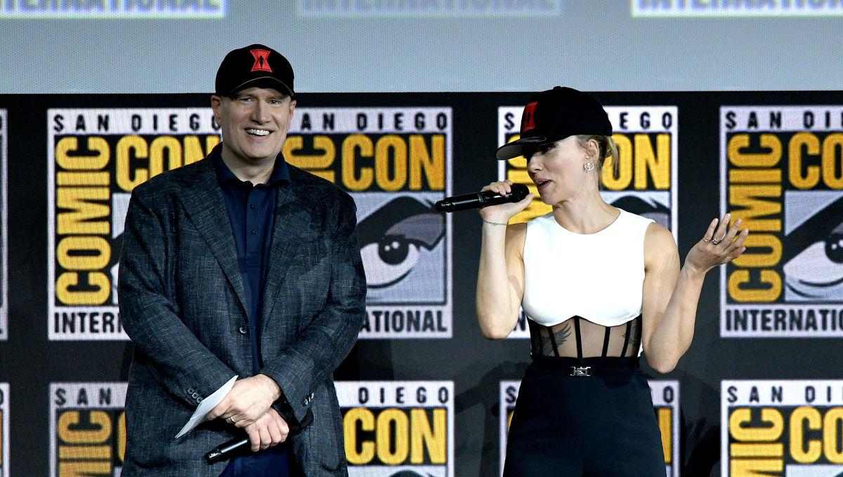 Kevin Feige and Scarlett Johansson