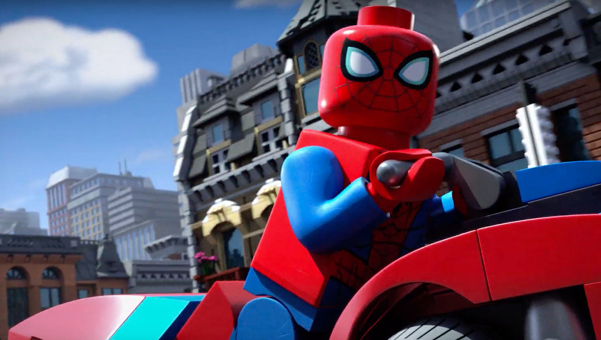 LEGO Spider Man on a motorcycle in Vexed by Venom animated series