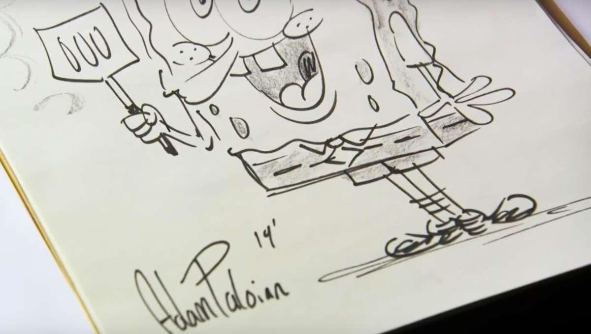 Adam Paloian drawing Spongebob