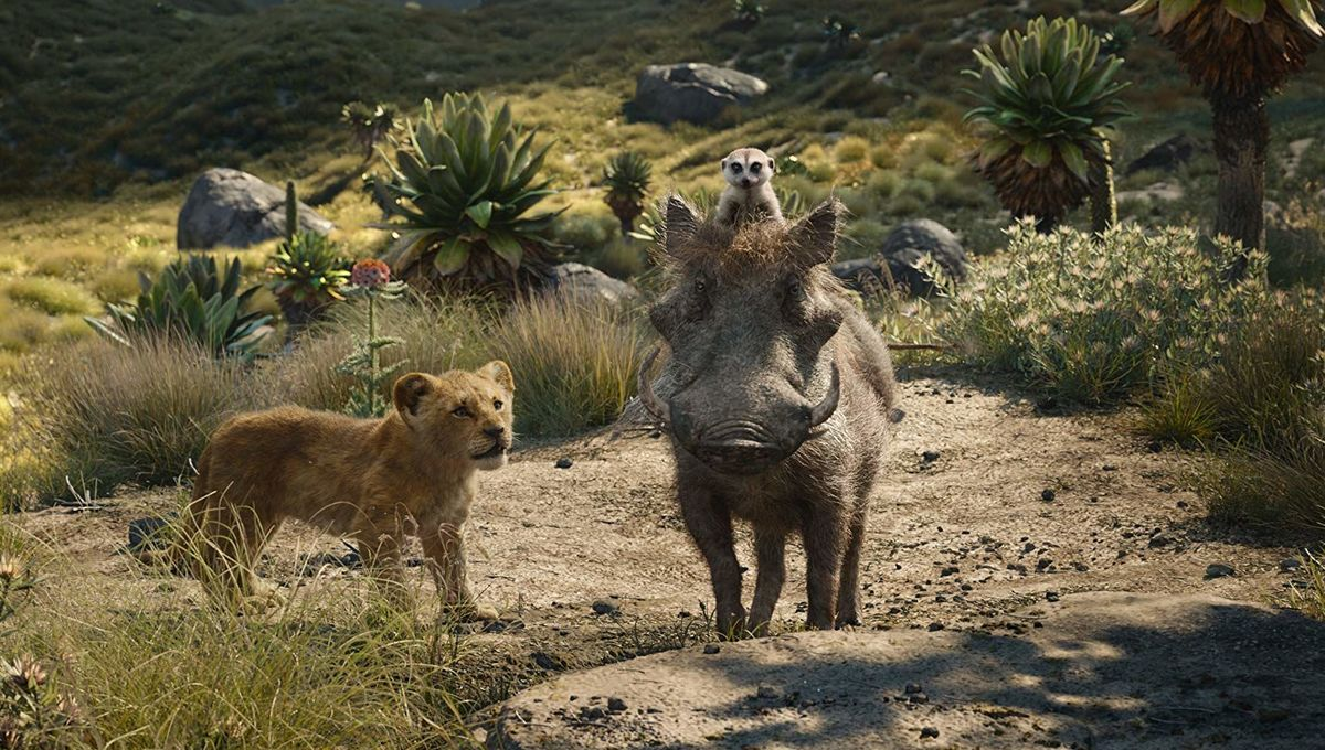 Simba with Timon and Pumbaa in The Lion King