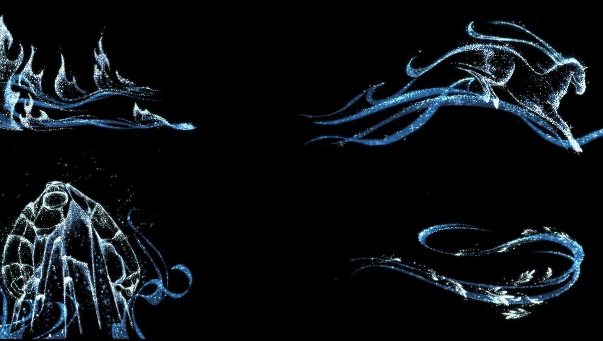 Four creatures are depicted in light