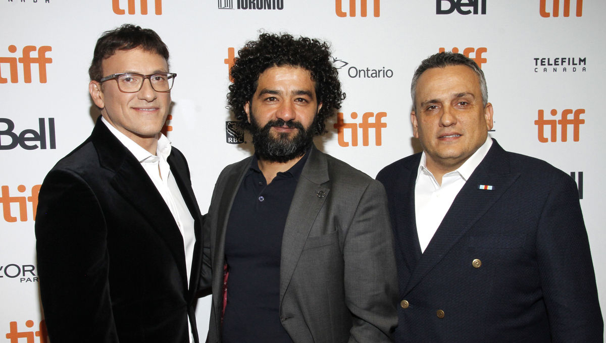 "Anthony Russo, Mohamed Al-Daradji, and Joe Russo attend the ""Mosul"" premiere at TIFF"