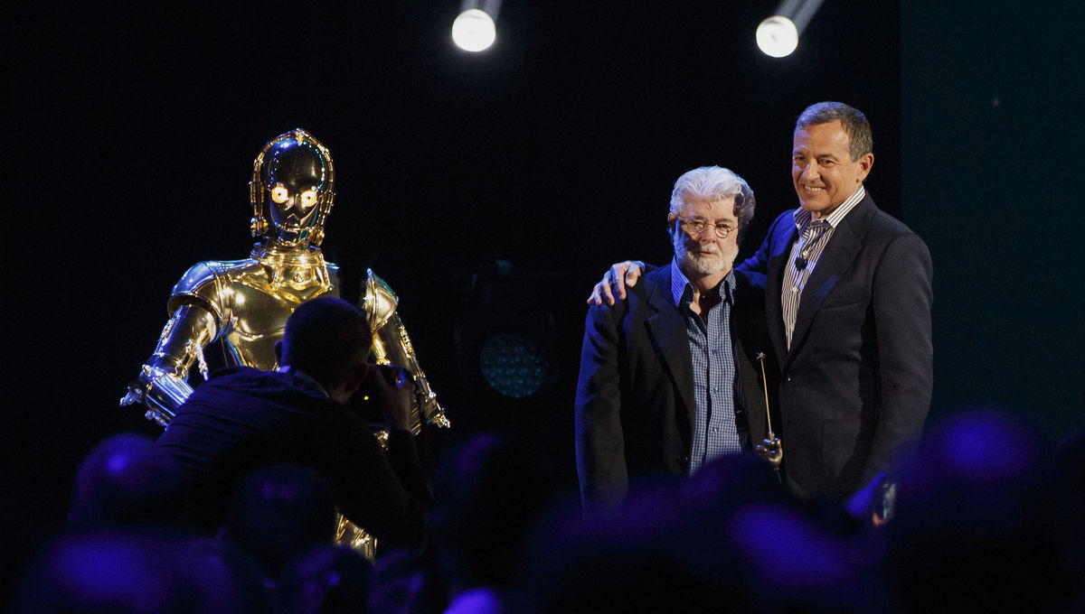 C-3PO with George Lucas and Bob Iger at D23 Expo