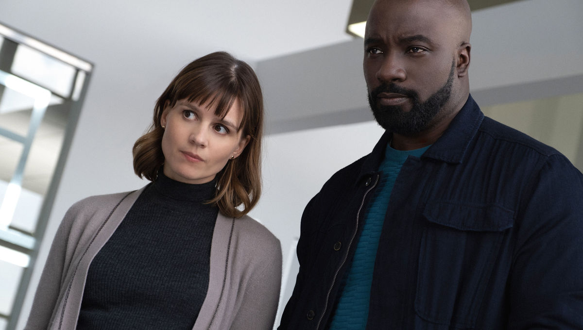 Katja Herbers and Mike Colter of CBS's Evil