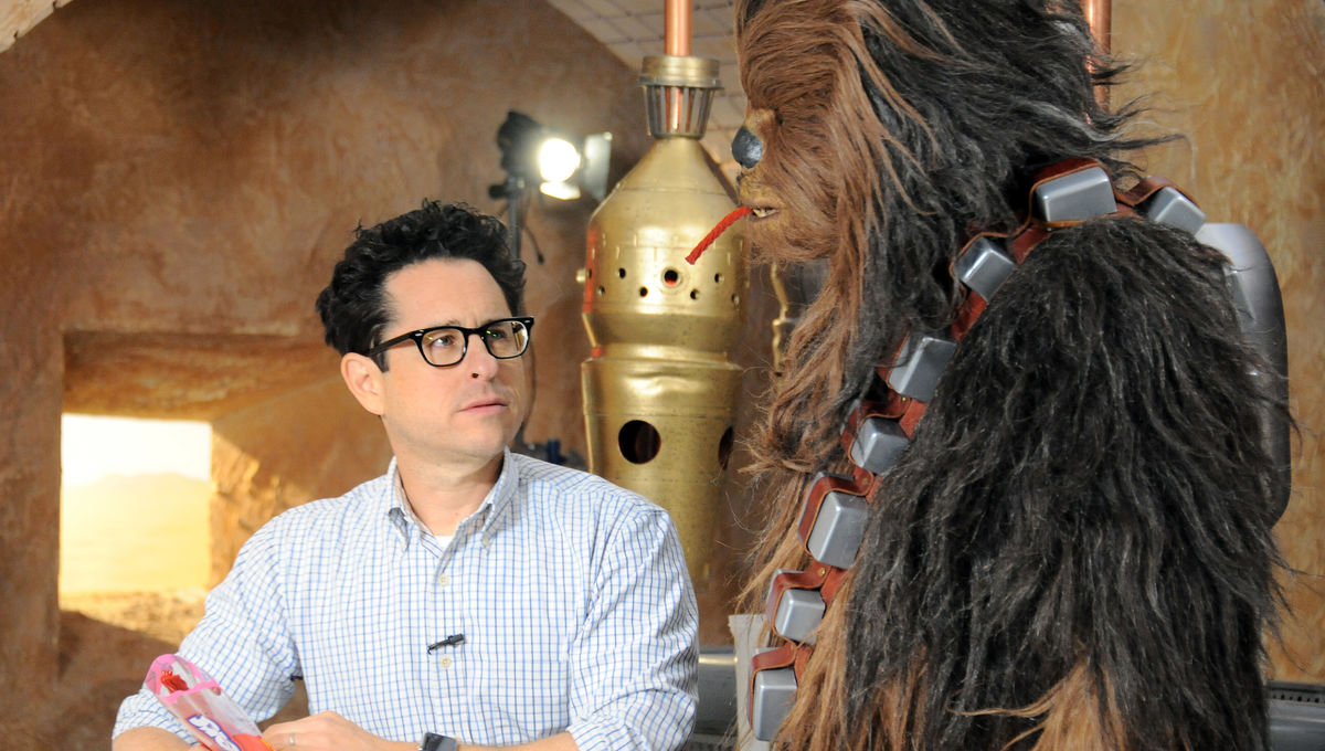 J.J. Abrams on the set of The Force Awakens