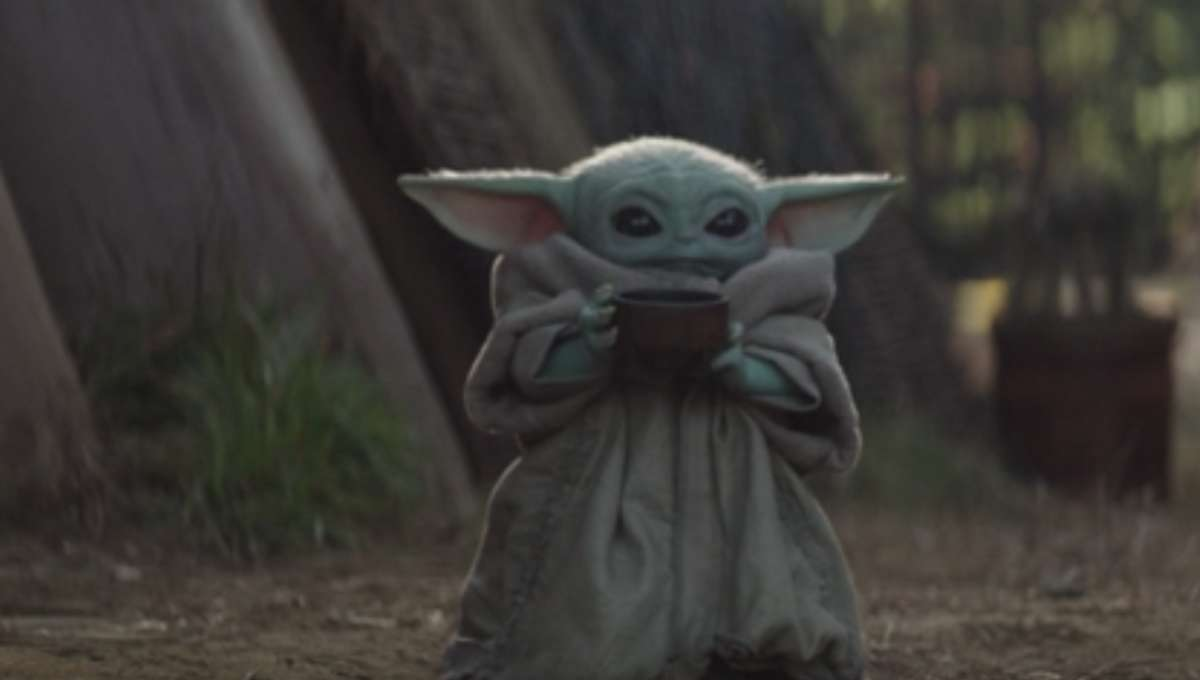 Baby Yoda drinking