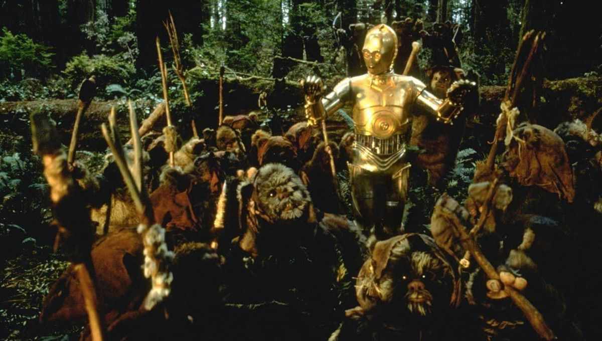 C3PO god with Ewoks in Star Wars Return of the Jedi
