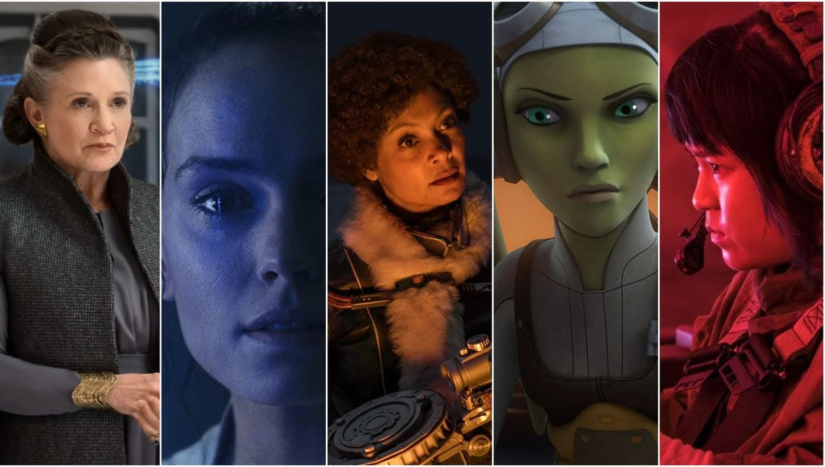 A composite of Leia, Rey, Cal, Hera, and Rose