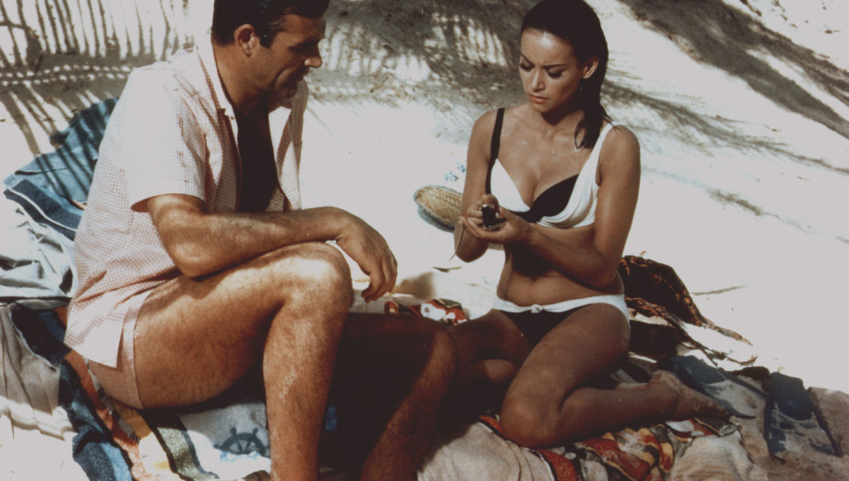 Actor Sean Connery and actress Claudine Auger on the set of 'Thunderball', directed by Terence Young,