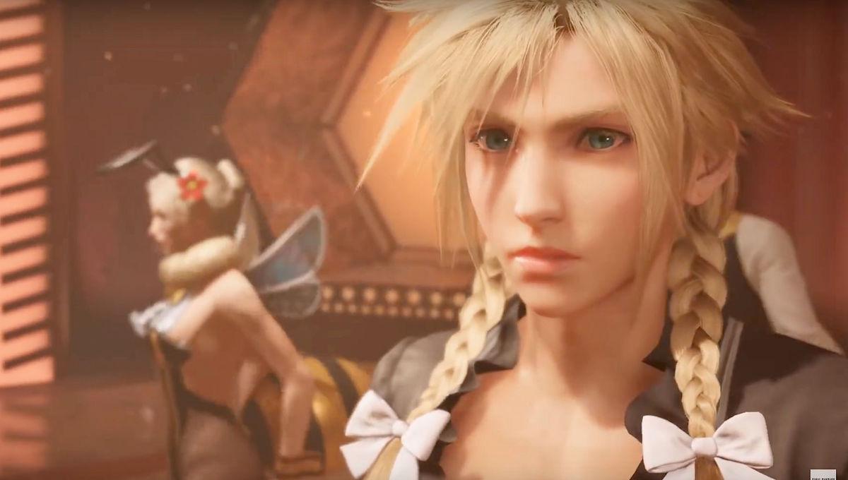 Cloud Strife in a dress in Final Fantasy VII Remake